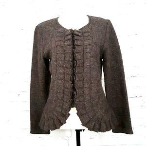 MARISA CHRISTINA Boiled Wool Ruffled Cardigan M